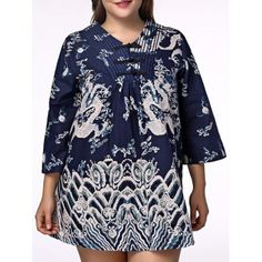 Ethnic Plus Size Chinese Dragon Print V Neck Women's Dress (BLUE,2XL) in Dresses | DressLily.com