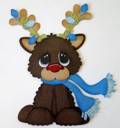 Reindeer Christmas Paper Piecing Border Premade Album DANDERSON651   eBay