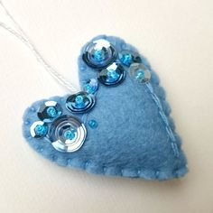 Heart ornament blue- felt ornaments - Valentine's day/Birthday/Christmas/Baby/It's a boy/Housewarming home decor