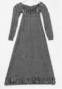 Day dress. French, early 19th C.,Yellow, red, green cotton plaid. Horizontally pleated neckline with drawstring closure at back; 8 front darts into waistband, gathered at back waistline; false lacing of green cording around blue silk thread covered buttons at front. Long sleeves, short welted slit cuffs with hook-and-eye closures. Band of ruching at skirt hem.