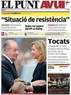 Los Titulares y Portadas de Noticias Destacadas Españolas del 4 de Abril de 2013 del Diario El Punt Avui ¿Que le parecio esta Portada de este Diario Español?