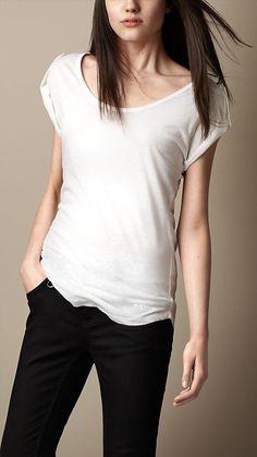 Burberry Brit Epaulette Detail Jersey Linen T-Shirt
