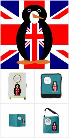 United Kingdom Talking Penguin Travel Needs Just back from his UK travels, Auntie Shoe's talking penguin knows just the type of things you will need for your vacation. Choose from passport holder, suitcase, backpacks and more. All items carefully chosen to be of use to you when on holiday. You can put words in his mouth and personalize your item, too. See all the products, and see the penguin in all his vests, at Zazzle.com/TalkingPenguin