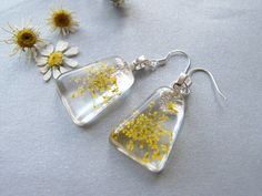 Lace Flower Earrings Resin Earrings Yellow Lace by WishesontheWind, £14.00
