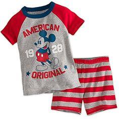 Disney Store Mickey Mouse Americana PJ PALS Short Set for Boys