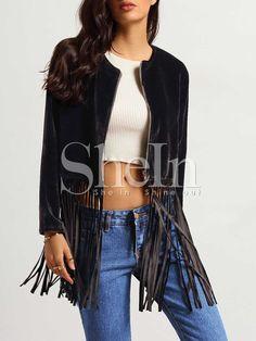 Black Collarless Fringe Velvet Coat 22.99