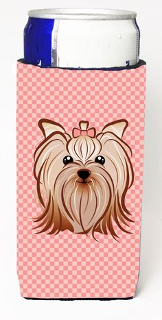 Checkerboard Pink Yorkie Yorkishire Terrier Ultra Beverage Insulators for slim cans