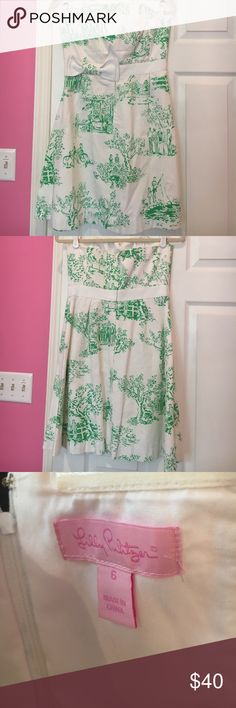 Lilly Pulitzer strapless toile dress This dress is a must for every southern belle to have in her closet. Dress has only been worn maybe 2-3 times. Great structure with boning throughout the bodice. Lilly Pulitzer Dresses Strapless