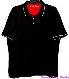 Robert Graham Mens Polo Shirt XXXL Cotton Black Short Sleeve Embroidered 3XL 3TG #RobertGraham #PoloRugby