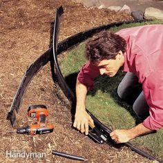 damaged lawn edging is easy to repair when it's a straight section, but curved pieces are more complicated. to maintain a natural curve, replace a long section and take extra care with the splicing. Plastic Lawn Edging, Plastic Landscape Edging, Garden Edging, Lawn And Garden, Garden Tips, Family Handyman Magazine, Sprinkler Repair, Lawn Sprinklers, Backyard Projects