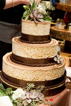 Rice Krispie wedding cake done right | photography by Style Art Life | see more on http://burnettsboards.com/2014/02/event-report-martha-stewarts-wedding-party/