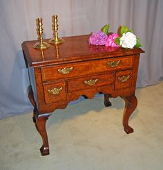 George 1st. Burr Elm, Walnut and Ash lowboy