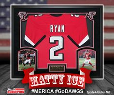 Atlanta Falcons Pro Bowl Quarterback and All-time Passing Leader Matt Ryan Autographed and Custom Framed Jersey.  This shadow box will look awesome in any Fan Room, Office, Man Cave or Dirty Birds Nest!  #MattyIce #AtlantaFalcons #MattRyan #FalconsHandmade #GeorgiaDecor #FalconsDecor #ManCaveDecor