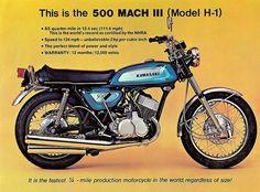 Brochure for the 1971 Kawasaki H1A Sun & Fun Motorsports 155 Escort LN, Iowa City, Iowa 319-338-1077