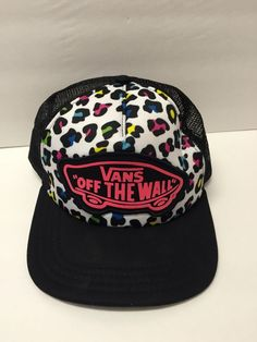 fd16812c2 Details about Vans Off the Wall Cheetah Print Trucker Mesh Hat Cap Snapback  Adjustable
