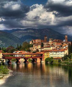 Bassano del Grappa: the heart of Veneto Region whose symbol is the wooden Ponte Vecchio designed by the famous architect Andrea Palladio.