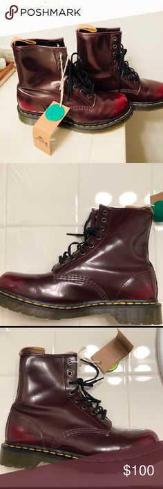 4ab5b0e3e01 Dr. Martens Vegan eye boot Cherry Red Sz10W GC NWT