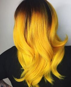 Amazing Yellow Hair Color Highlight & Style for 2019 Amazing Yellow Hair Color Highlight & Style for 2019 Dark Ombre Hair, Dark Hair, Yellow Hair Dye, Neon Yellow, Orange Yellow, Short Hair Styles, Natural Hair Styles, Undercut Designs, Ombré Hair