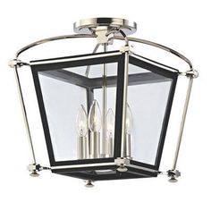 "Hudson Valley Lighting 3610 Hollis 4 Light 12.75"" Width Semi-Flush Ceiling Fixtu Polished Nickel Indoor Lighting Ceiling Fixtures Semi-Flush"