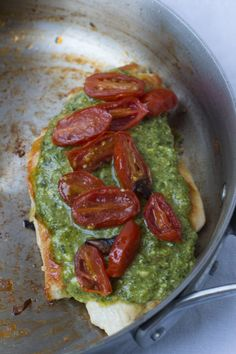 #Skinny Pesto #Chicken that only takes 14 minutes. Quick, easy, #healthy and delicious. We serve ours over brown rice with veggies.  ohsweetbasil.com