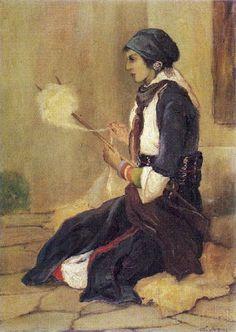 Nikiforos Lytras, Greek painter 1832-1904: Girl with a distaff