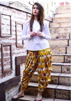 2174125a5d White Top With Yellow Dhoti Pant
