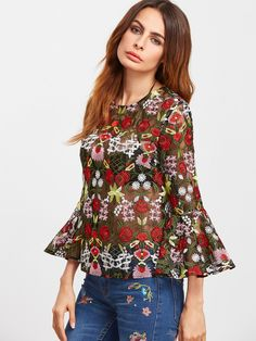 Shop Multicolor Bell Sleeve Flower Embroidered Mesh Top online. SheIn offers Multicolor Bell Sleeve Flower Embroidered Mesh Top
