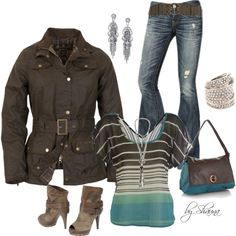 """brown leather and shades of aqua"" by shauna-rogers on Polyvore"