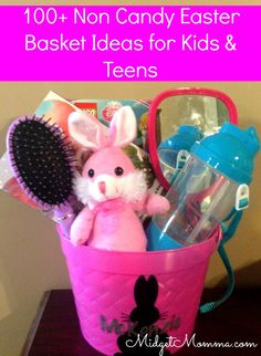 Don't want to stuff the Easter Baskets with candy? Check out this huge list of 100+ ideas for the Kids and teens Easter Baskets! Lots of great Easter Basket stuffer ideas and some that you can even use as Easter Egg fillers too!