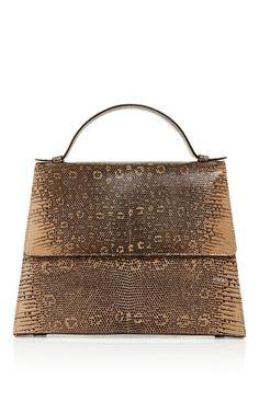 Taupe ring lizard top handle bag by HUNTING SEASON for Preorder on Moda Operandi