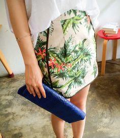 【Bagazimuri】BAGAZIMURIオリジナルスカート♪トロピカルボタニカル柄リネンスカートです。季節感満載のトロピカルプリントが魅力的!