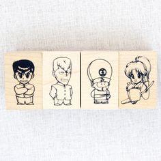 RARE! Yu-Yu Hakusho Stamp 4pc Set Yusuke Koenma Botan Kuwabara JAPAN ANIME MANGA