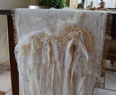 Sweet burlap and lace table runner