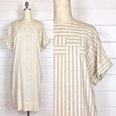 r e s e r v e d Vintage 1980s Neutral Stripe Linen Shift Dress / Caftan Dress / Made by St. Gillian / Minimal by AvionVintage on Etsy https://www.etsy.com/listing/510505878/r-e-s-e-r-v-e-d-vintage-1980s-neutral