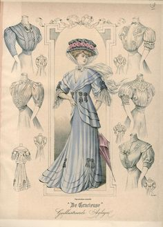 Edwardian walking dress with variation of blouses, 1907 fashion plate. the Netherlands, De Gracieuse