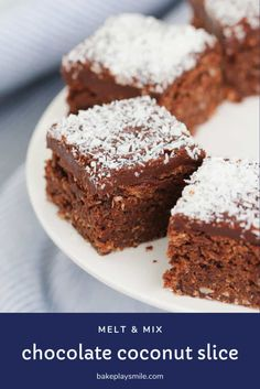 Tray Bake Recipes, Baking Recipes, Cookie Recipes, Dessert Recipes, Xmas Desserts, Thermomix Desserts, Dessert Ideas, Snack Recipes, Chocolate Coconut Slice