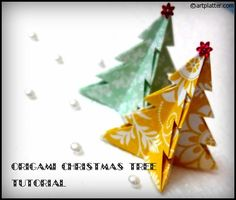 Here's an easy patter for an origami Christmas Tree. Guess what's about to appea. - Here's an easy patter for an origami Christmas Tree. Guess what's about to appear in our house? Origami Christmas Ornament, Origami Ornaments, Christmas Paper Crafts, Paper Ornaments, Diy Christmas Ornaments, Christmas Projects, Christmas Tree Decorations, Holiday Crafts, Christmas Holidays