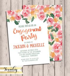 Engagement Party Invitation, Printable Invitation, Watercolor Invitation, Floral Watercolor Invitation, Invite, 5x7, Printable, DIY by TownleyDesigns on Etsy