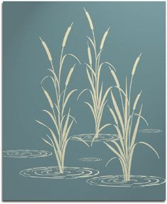 Deciding on a stencil for the living room...cattails or...