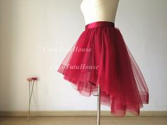 Red Wine/Burgundy Hi Low Tulle Skirt /Adult Women Horsehair