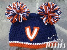 Crocheted UVA University of Virginia Hat Cap by TinyTippyToppers, $26.00