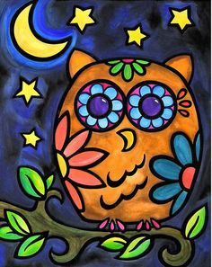 Canvas Giclee (reprint on Canvas) High Quality color Giclee on canvas wrapp. Pop Art, Arte Pop, Night Owl, Autumn Art, Whimsical Art, Painted Rocks, Hand Painted, Art Lessons, Art For Kids