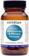 Viridian High Five Multivitamin & Mineral Formula Vegan, Kosher, Veg Caps. The 'High Five' refers to the higher level of Vitamin B5 (pantothenic acid) found in this formula. This key B vitamin helps convert food into energy and is essential for the normal functioning of the adrenal glands, along with other benefits. Copper-free. http://www.theremustbeabetterway.co.uk/viridian-high-five-multivitamin-mineral-formula.html
