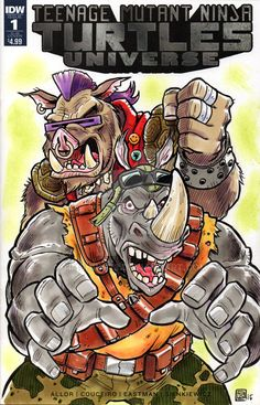 TMNT Bebop and Rocksteady Sketch Cover by timshinn73