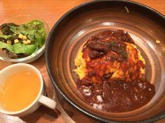 【オムライスレストランにて】 矢竹正成が注文したオムライスCセット! 実物はソースの量がちょっと少ない・・・。