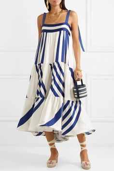Navy and white silk-blend satin Button fastenings along back silk, elastane Dry clean Striped Midi Dress, White Dress, Cute Maxi Dress, Dress Long, White Silk, Navy And White, Summer Outfits, Summer Dresses, Summer Looks