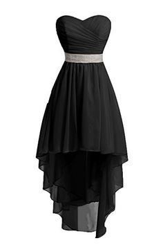 Chengzhong Sun Women High Low Lace Up Prom Party Homecoming Dresses (6, Black )
