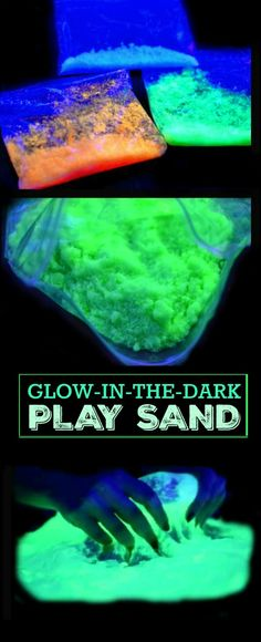 Glow in the dark is always a hit! Here is a recipe for a home run- Glow in the Dark Sand! Glow Stick Party, Glow Sticks, Fun Activities For Kids, Fun Crafts For Kids, Activity Ideas, Fun Games, Preschool Activities, Glow Run, Sands Recipe