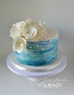 Water Color and Roses - Cake by Stephanie