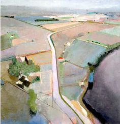 John Evans. Fields by the River 50 x 48 inches. Quite interesting the aerial perspective.